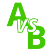 A vs B written out in flat text